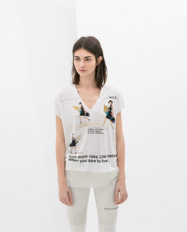 Beauty&Letters Printed T-shirts Short Sleeves V-Neck Net Yarn Splicing Tops