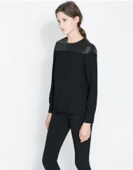 Casual PU Combined Tops -