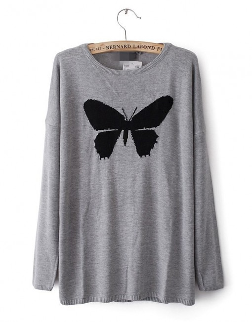 Chest Butterfly Jacquard Sweater Leisure Pullover Knitwear -