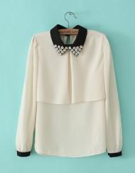Color Patchwork Turn down Collar nail Beading Flower Chiffon Shirt Casual Shirt-