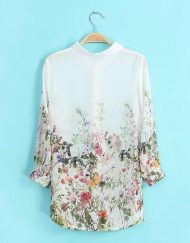 Floral Printed Turn-down Collar Chiffon Blouse Shir