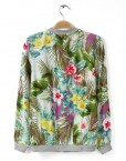 Flowers Prints Zipper Bomber Jackets Outwear Coats