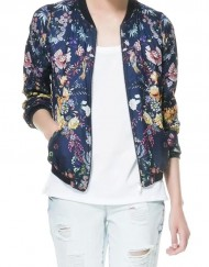 Flowers Prints Zipper Bomber Jackets Outwear Coats with Pockets
