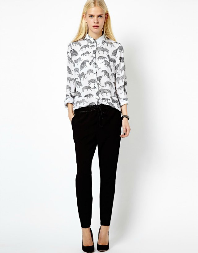 Leopard Printed Turn-Down Collar Full Sleeves Chiffon Blouse