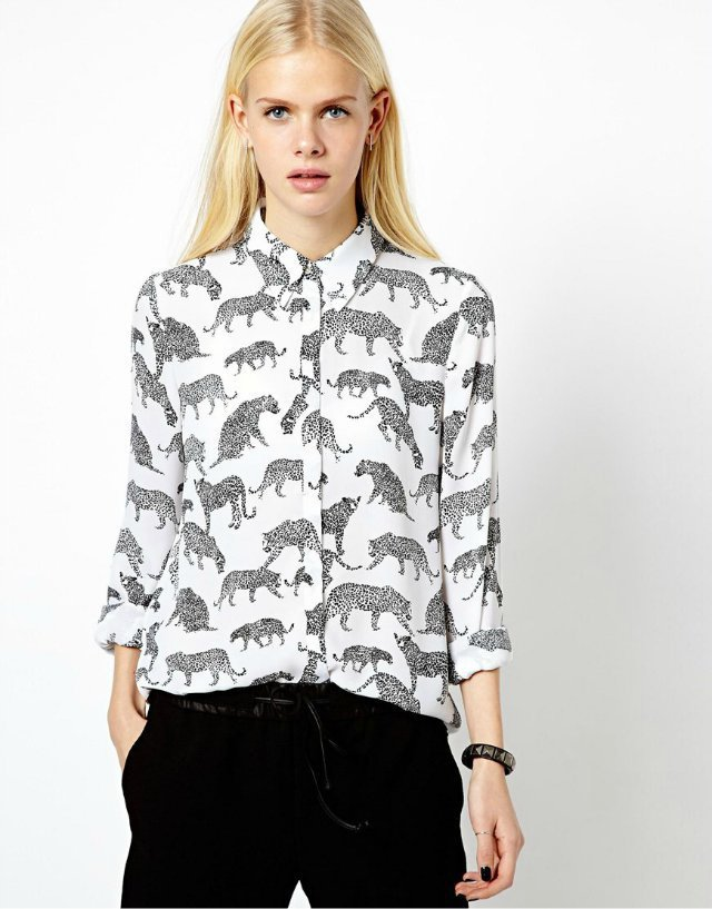 Leopard Printed Turn-Down Collar Full Sleeves Chiffon Blouse