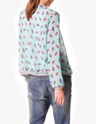 Pineapple Prints Chiffon Zipper Bomber Jackets Outwear Coats