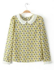 Yellow Floral Peter Pan Collar Full Sleeves Chiffon Blouse with Button on Bac