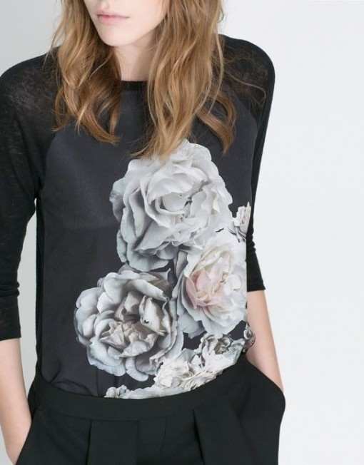 Flower Printed Combination T-shirt Tops -