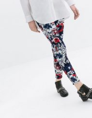Flower Prints Skinny Pencil Trousers