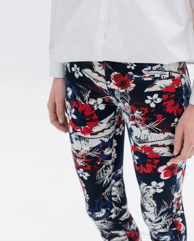 Flower Prints Skinny Pencil Trousers