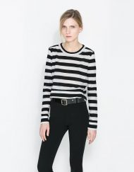 Navy Style Striped Prints Casual T-shirt Tops -
