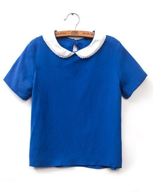 Pearl Peter Pan Collar Casual T-shirt Tops -