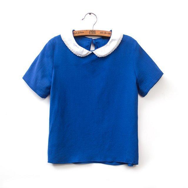 badaba6facbd0 Pearl Peter Pan Collar Casual T-shirt Tops -. prev
