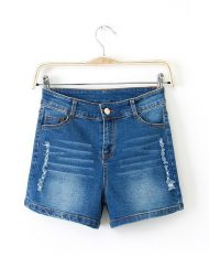 Ripped Casual Elastic Denim Shorts Jenas Pants