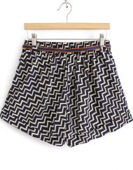 Stripes Printed High Waist Shorts Chiffon Pants with Sashes