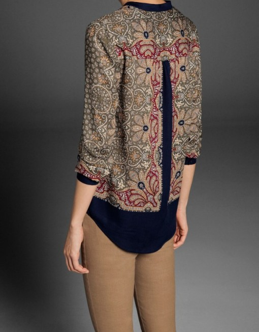Vintage Flower Pattern Cotton Blouse leisure Shirt-