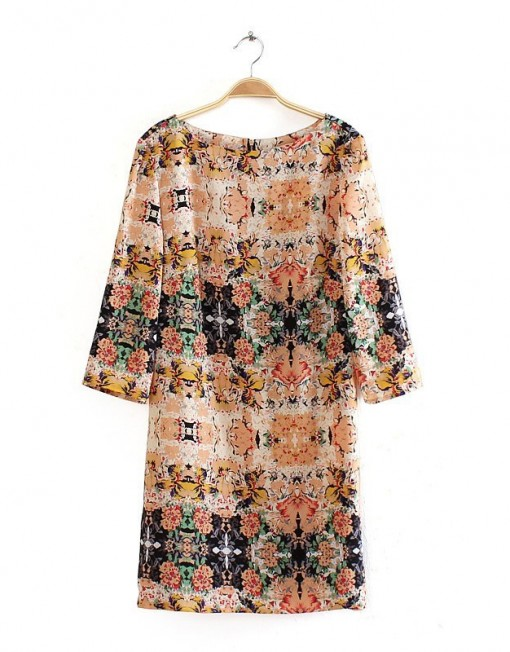 Vintage Flower Pattern Straight Dress DRA
