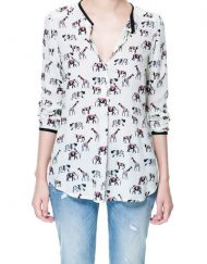 Woman Animal Prints leisure Blouse Shirt