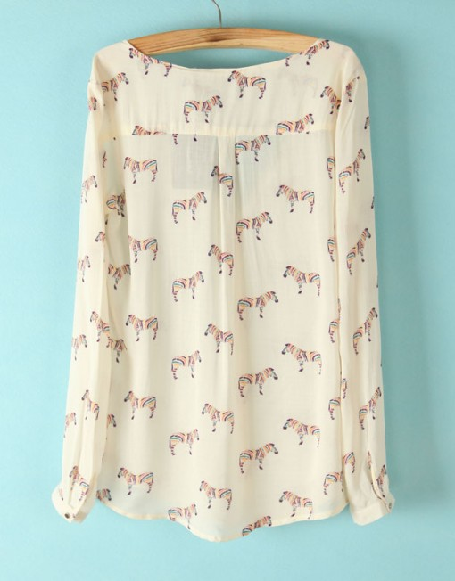 Woman Color Zebra PrintsTurn-down Collar Long Sleeves Blouse Shirts I