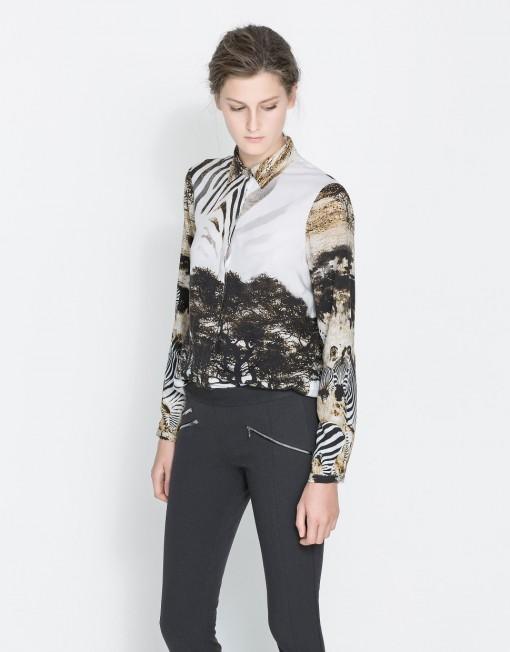 Woman SARARI Print Cotton Blouse Casual Shirt -