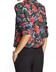 Woman Vintage Flower Print Chiffon Casual Blouse Casual Shirt -