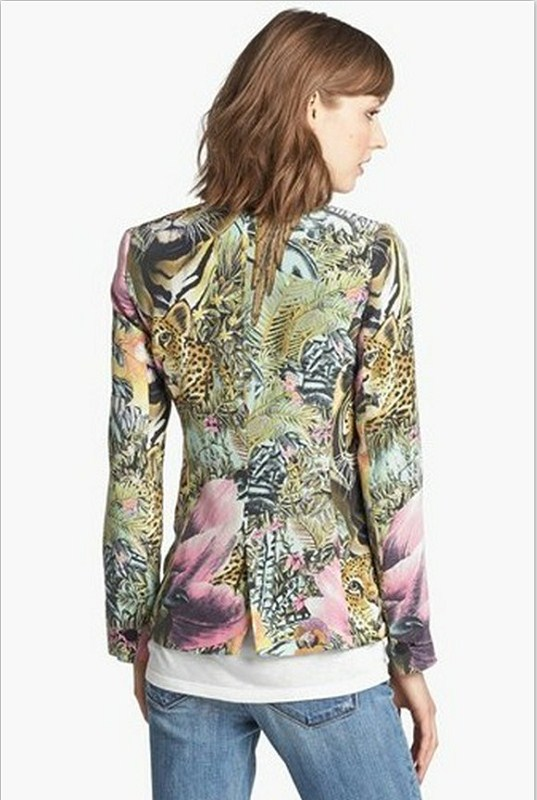 Woman Vintage Forest animals Graffiti Suits Casual Coat BL
