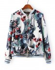 Woman Flower Prints V-neck Bomber Jackets ASOS Inspired Casual Coats with Zipper