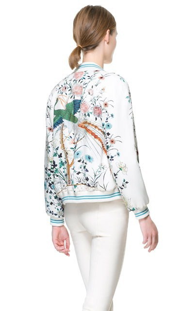Woman Light green Vertical Flower Prints V-neck Bomber Jackets ASOS Inspired Casual Coats BL