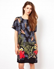 Woman Summer Casual Flower Printed Cotton Dress