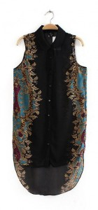 Woman Vintage Flower Prints Sleeveless Chiffon Blouse Shirt -