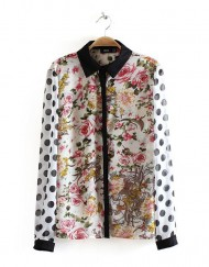 Woman Vintage Flower and Dots Printed Casual Chiffon Blouse leisure Shirt-