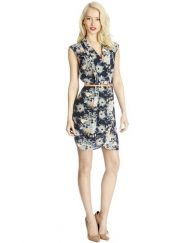 Woman Vintage Flowers Printed Notched Above Knee Sleeveless A-Line Dress