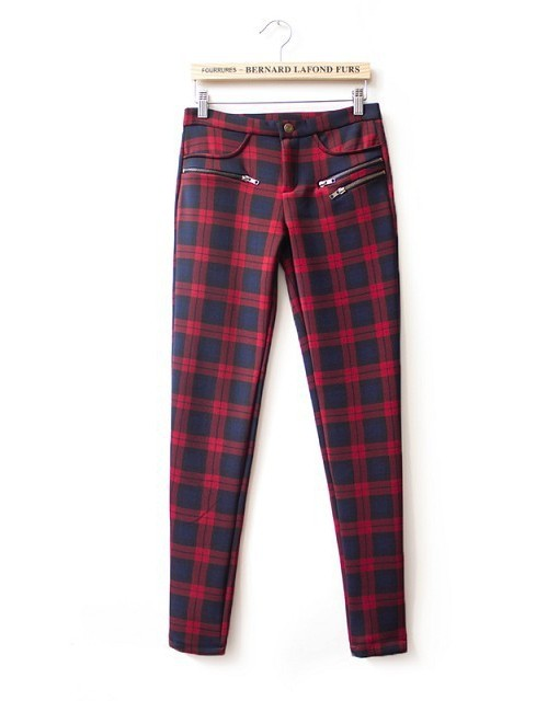 Colors Checkers Pattern Elastic Skinny Pants ASOS Inspired Casual Pencil Trousers -