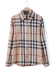 Basic Plaids Casual Cotton Blouse Shirts