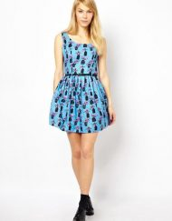 Birdcage Prints High Waist Pleated Top Shop Inspired Dresses with Black Sashes