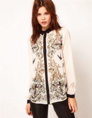 Birds&Floral Prints Vintage Style Chiffon Shirts Blouse