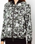 Black Flower Printed Leisure Zipper Bomber Jackets ASOS Inspired Coats BL