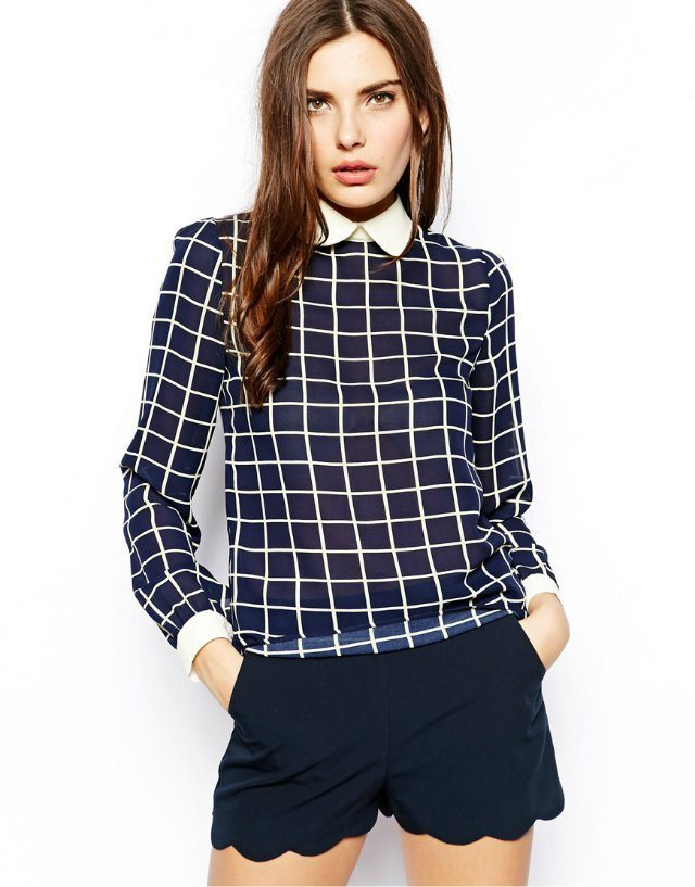 Black Plaid Chiffon Peter Pan Collar Blouse Top Shop Inspired Shirts