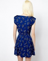 Butterfly Print Elastic Waist Pleated Dresses
