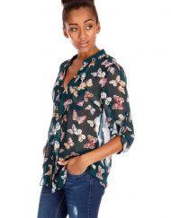 Butterfly Prints Turn-down Collar Chiffon Blouse with Ruffles Casual Shirts -