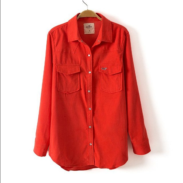 Candy color Turn-down Collar Corduroy Blouse with Sea Mew LogoASOS Inspired shirts -