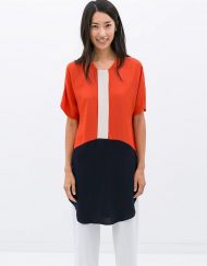Casual Color Matching O-Neck Short Sleeves Above Knee Dress with Buttons