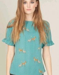 Casual Deers Prints Butterfly Sleeves T-Shirt Tops with Buttons on Back