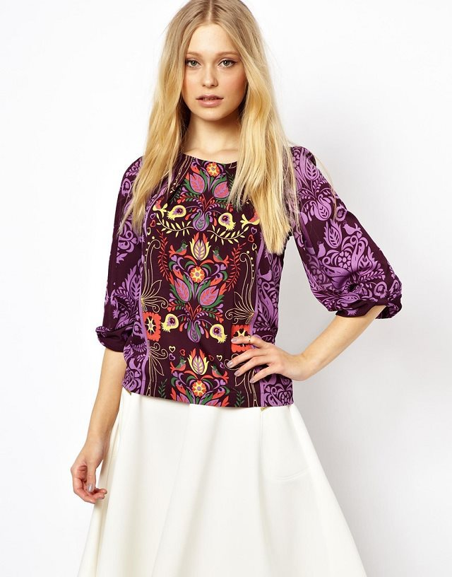 Casual Ethnic Style Prints Lantern Sleeves T-Shirt Tops with Zipper on Back