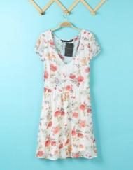 Casual Floral prints Short Sleeve Chiffon DressDRA