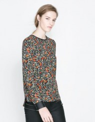 Casual Flower Printed Blouse with PU Sleeves Cuff Leisure Shir