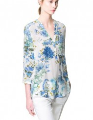 Casual Flower Printed V-neck Casual Shirts Blouse