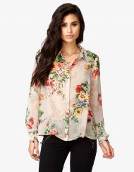 Casual Flower Prints Turn down collar Chiffon Blouse Shirt -