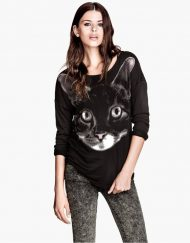 Casual Kitty Prints Sweatshirts Tops-