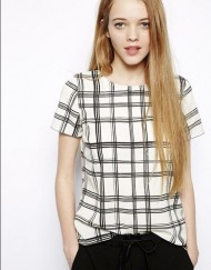 Casual Plaid Patterns T-shirt Tops with Button on Back